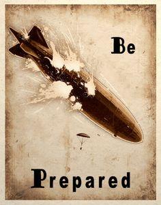 steampunk prints | Steampunk Art Print Zeppelin Airship Balloon Crash Be ... | Steampunk