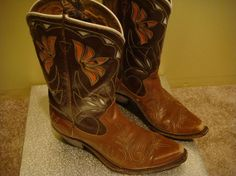 Vintage 1940s 1950s ACME flower inlay leather boots by Foolosopher