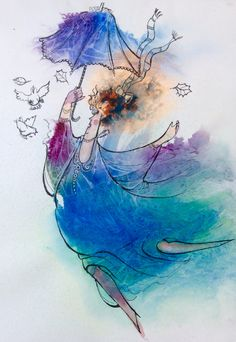 Watercolor and line Fantasy Paintings, Painting & Drawing, Watercolor Tattoo, Art For Kids, Journal Art, Ballerinas, Drawings, Tuesday, Card Ideas