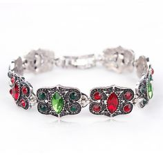 Vintage Gold or Silver Plated Green & Red Crystal Rhinestones Beautiful Bracelets for Women