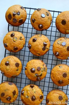 The Best Pumpkin Chocolate Chip Muffins #recipe @justataste