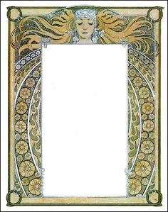 Alphonse Mucha Frame Art Nouveau Illustration, Art Nouveau Poster, Art Nouveau Design, Book Illustration, Art Vintage, Antique Art, Vintage Style, Alphonse Mucha Art, Medieval