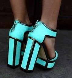 Turquoise Chunky Heels