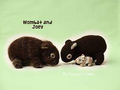Ravelry: Wombat and Joey. Amigurumi pattern by Rosaura Valdez Crochet Patterns Amigurumi, Crochet Toys, Knitting Patterns, Cute Wombat, Baby Wombat, Cute Crochet, Beautiful Crochet, Australian Animals, Australian Gifts