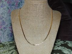 Vtg Crown Trifari Shiny Gold Long Herringbone Chain Necklace | eBay