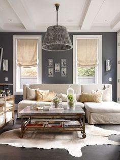 via grey decor / Gray and white living room.