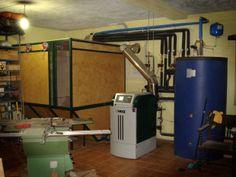 Sala de calderas: silo, caldera y depósito