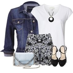 Floral Shorts and Denim Jacket 9272bea3d
