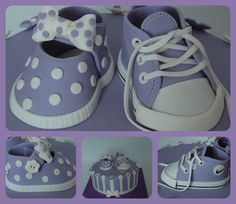 Girly Baby Shoe And Converse A baby shower cake for shoe lovers! I made the cake in lilac because it will be the baby's room color....