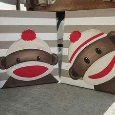 Sock Monkey Art - Handpainted - You customize! Sock Monkey Wall Art, Sock Monkey Nursery Decor, Nursery Art, Boy Nursery or Girl Nursery Sock Monkey Nursery, Sock Monkey Baby, Sock Monkey Birthday, Sock Monkey Decor, Nursery Art, Girl Nursery, Nursery Decor, Wall Decor, Sock Monkey Halloween Costume