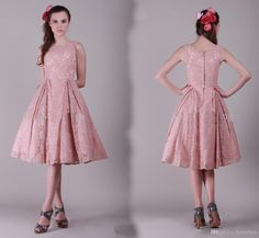 Cheap Pearl Pink Dress - Discount Pearl Pink Cocktail Dress with Sheer Lace Straps Tea Length Zipper Back a Line Lace Homecoming Dress Online with $93.21/Piece | DHgate