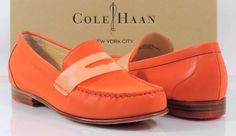 Women's Cole Haan NY MONROE PENNY Slip On Loafer Moccasins Orange Pop Size 7.5 #ColeHaan #LoafersMoccasins #Casual