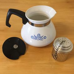 Vintage Corning Ware Coffee Pot 6 Cup Blue Cornflower Stove Top w/ Black Lid #CorningWare