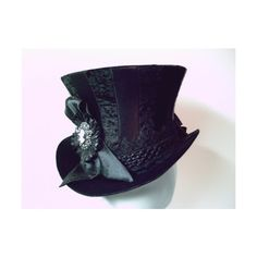 Black Stripy Top Hat with Cameo Victorian, Goth : GypsyLadyHats -... (180 CAD) ❤ liked on Polyvore featuring accessories, hats, steampunk, gothic top hat, gothic hats, steam punk hats, victorian hat and top hat