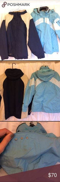 "Columbia Jackets! Get 2! Teal is the ""Omni-shell"" water proof and breathable, navy is a little heavier. Size M, but fits a small with layers in comfortably. Happy shopping :) Columbia Jackets & Coats Utility Jackets"