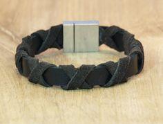 Armband zwart leer en bruin gevlochten suède, Winkel van Indah