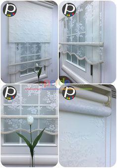 Çiçek Desenli Çiftli Sistem - Tül Stor Perde - Mekanizmalı Tül Perde