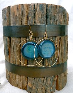 Blue Modern Agate Round Hoop Earrings, statement, stone, hammered, geometric, gift for mom, boho, hippie, large earrings, dragon vein agate by FunNFiber on Etsy