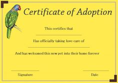 Pet Rock Adoption Certificate Template  Pet Adoption Certificate