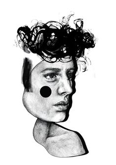 Lina Ekstrand, art, illustration, drawing, painting, black, white,