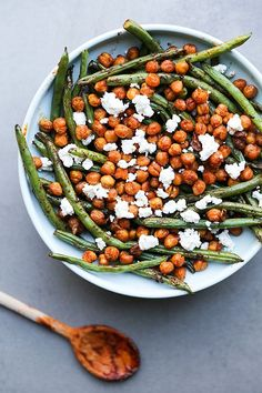 Harissa Green Beans with Spiced Chickpeas and Feta Cheese   http://www.floatingkitchen.net