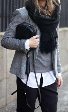 fall layers. grey blazer. knit. white shirt. black trousers. scarf.