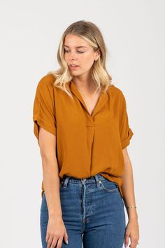 2d85e611f0d9b8 The Rule Collared Popover Blouse in Oak -- The Rule Collared Popover Blouse  is an. Piper & Scoot