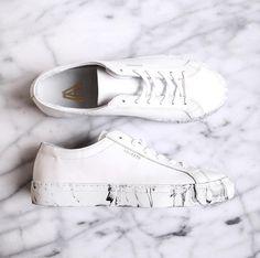 White leather sneakers with a white marble sole www.axelarigato.com #axelarigato