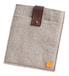 "Wool Felt iPad Sleeve (by MULXIPLY) (2/3) - front pocket for notebook, Italian antiqued button stud; interior dimensions 8"" x 9.5"", measures 8.375"" x 10.25"""