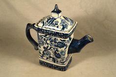Vintage Blue & White Delft Pitcher Transferware Teapot China