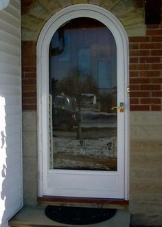 Round Top Entry Unit Red Manhattan Screen Storm Door
