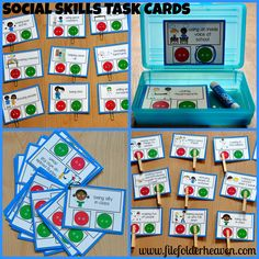 "Social Skills Task Cards--Is it a ""Go Behavior,"" or a ""No Behavior?"" These task cards lend themselves really well to small group discussions and social skills groups but can be used so many other ways too! ;)http://www.filefolderheaven.com/task-cards/social-skills-task-cards"