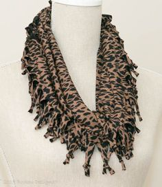 Black & Tan Animal Print Short Knotted Cowl Scarf