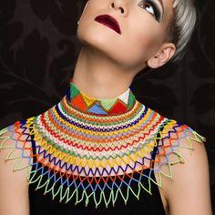 Zulu Beaded Necklace African Beads Necklace, Beaded Necklace Patterns, African Jewelry, African Attire, African Wear, Zulu Women, African Print Skirt, Beaded Collar, Neck Piece
