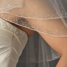 Beautifully Beaded Two Layer Elbow Length Wedding Veil with Crystals - Affordable Elegance Bridal -