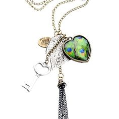 JQUEEN Women Heart Leaf Key Peacock Pendant Tassel Long Sweater Chain Necklace J Queen http://www.amazon.com/dp/B00VK2OFE4/ref=cm_sw_r_pi_dp_O0RRvb0YD5JRP