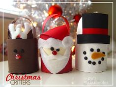 Santa, Snowman and Reindeer Ornaments created from Toliet Paper Rolls, TP