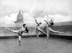 """From Aug. 10, 1925, on the top of """"the new Steinway building"""" on 57th St., the famed Vienna-born Albertina Rasch rehearsed with members of her ballet."""