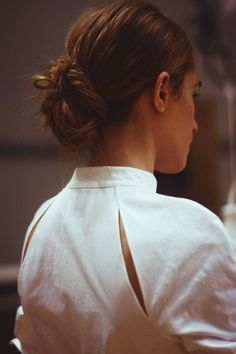 Raglan sleeve, leave center unsewn, scoop out slightly, turn seam allowance under. -- Backstage | Rosie Assoulin Spring 2015.