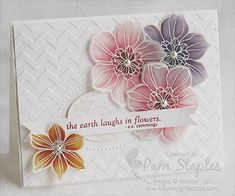 handmade card ... Artiisan Blog Hop ... gorgeous vellum flowers using the stained glass technique ... emboss white on translucent vellum ... color with markers on backe ... chevron embossing folder texture ... delightful card!!
