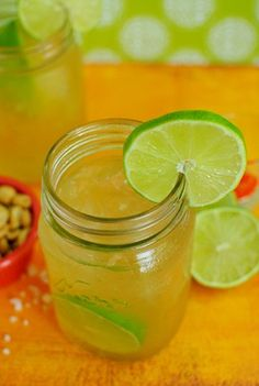 Killer Beergaritas! Rather than the sickeningly sweet flavor of a standard margarita, these beergaritas have just a hint of sweet, and a whole lot of tart and fizz from the lime and light beer.