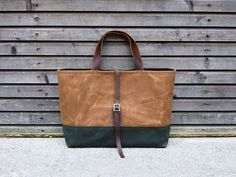 Waxed Canvas Tote with Leather Detail