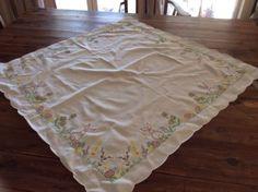 Easter Rabbit Vintage retro Square Table Cloth Measures Approx 80cm X 80cm