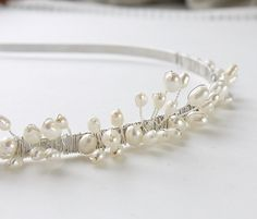 freshwater ivory rice pearl wedding silver tiara alice by PearlsByTabs, $79.00