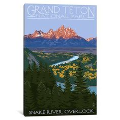 East Urban Home 'U.S. National Park Service Series: Grand Teton National Park (Snake River Overlook)' Vintage Advertisement on Canvas Size: