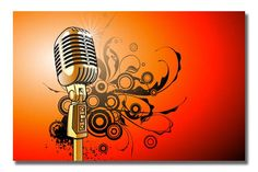 Mic On Stand On Orange Background Abstract Modern Art