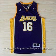 maillot nba pas cher Los Angeles Lakers Gasol #16 Pourpre nouveaux tissu 22,99€