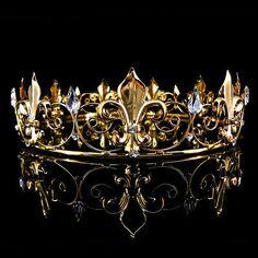 Men's Imperial Medieval Fleur De Lis Gold King Crown High Diameter for sale online