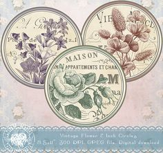 Flower 2 Inch Circles Floral Circles Digital Collage Sheet
