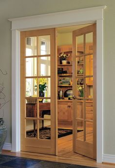 Pine Glass Our French doors swing in or out on side hinges, gracefully separating interior spaces Obtain a classic, multi-paned appearance with our divided lite designs. House Paint Interior, Interior Shutters, Interior Barn Doors, Interior Painting, Internal French Doors, Double Doors, French Door Sizes, Loft Door, Primed Doors